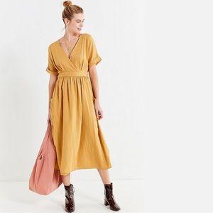 Urban Outfitters Gabrielle Linen Wrap Midi Dress